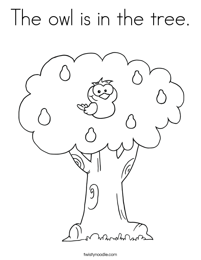 The owl is in the tree. Coloring Page