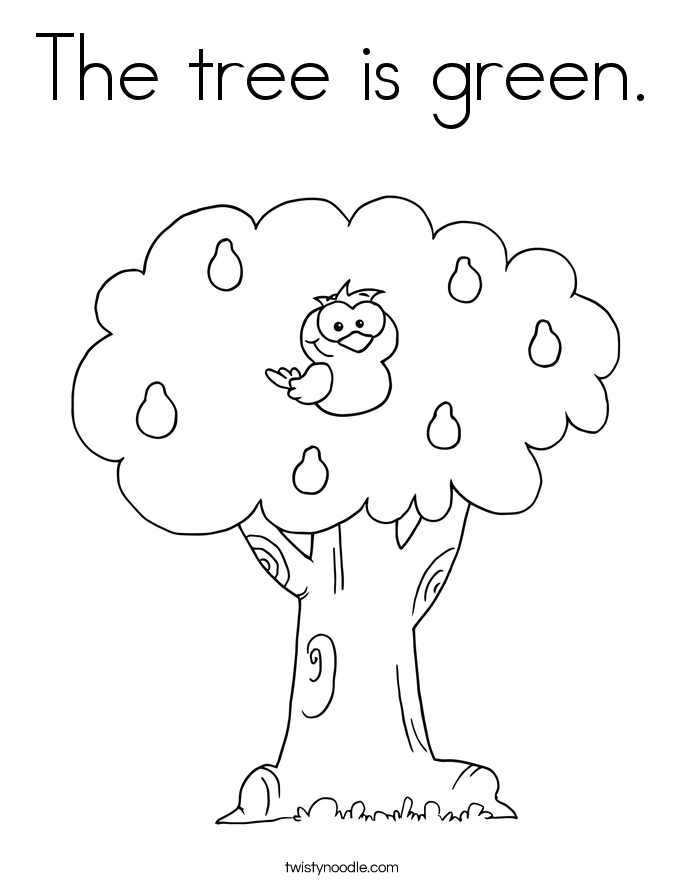 The tree is green. Coloring Page