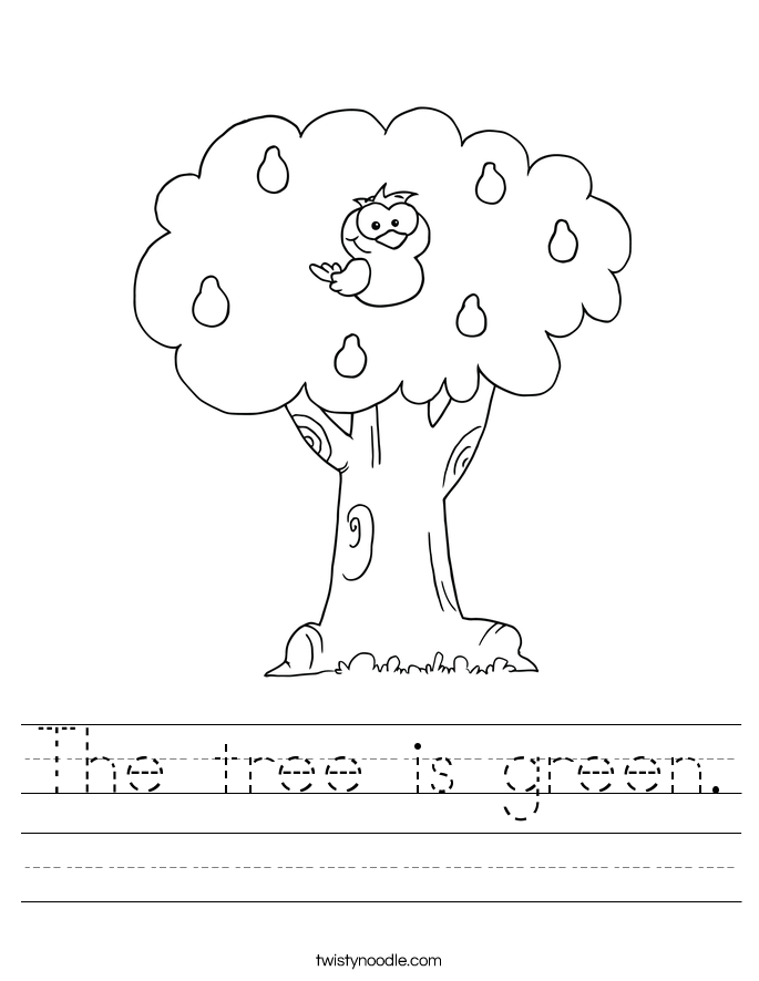 The tree is green. Worksheet