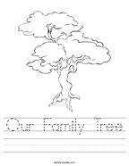 Our Family Tree Handwriting Sheet