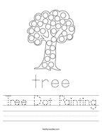 Tree Dot Painting Handwriting Sheet