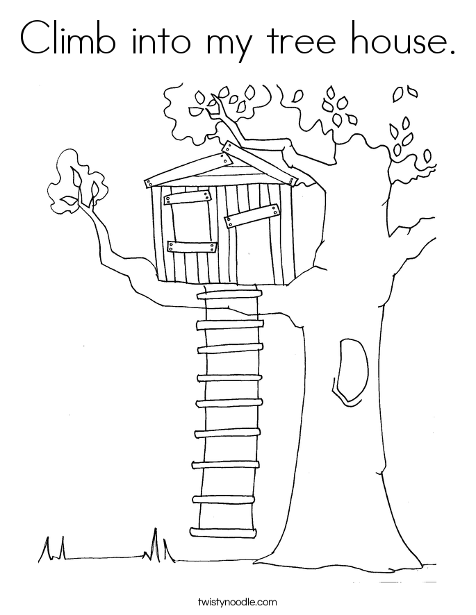 Climb into my tree house. Coloring Page