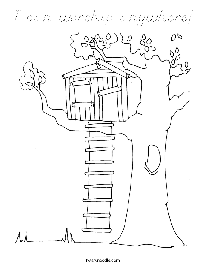 I can worship anywhere! Coloring Page