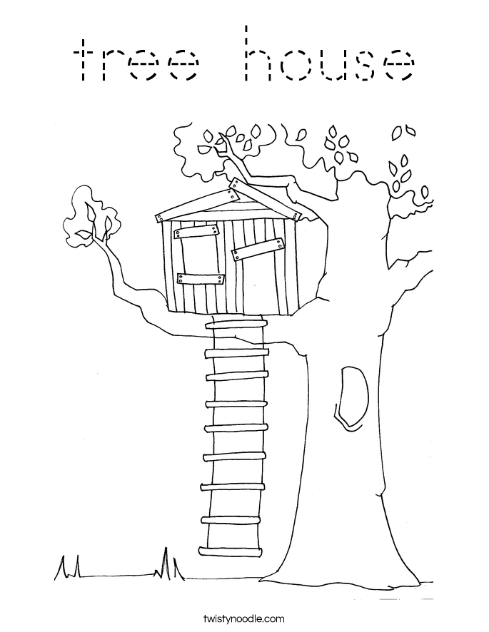 tree house Coloring Page Tracing