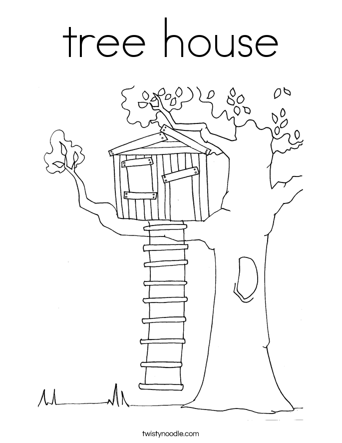 Coloring Pages Of House. tree house Coloring Page  Twisty Noodle