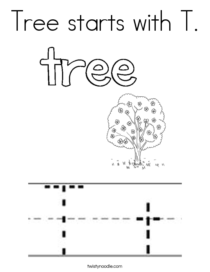 Tree starts with T. Coloring Page