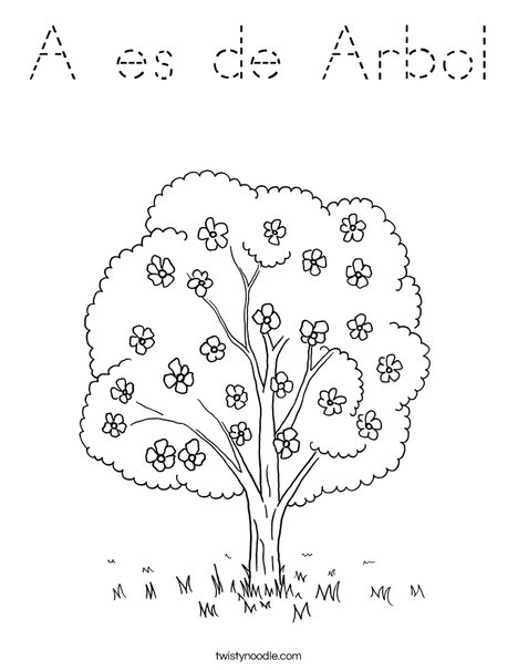 Tree with Flowers Coloring Page