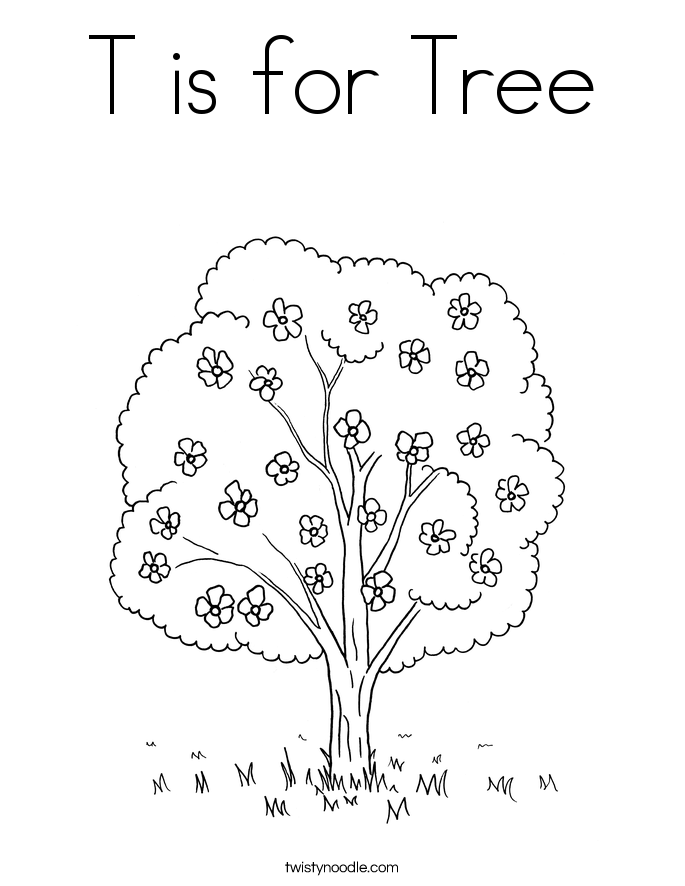 T is for Tree Coloring Page