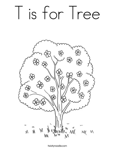 T Is For Tree Coloring Page Twisty Noodle