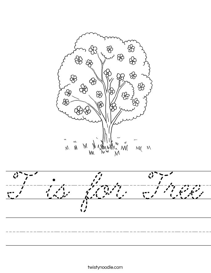 T is for Tree Worksheet