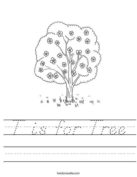 Tree with Flowers Worksheet