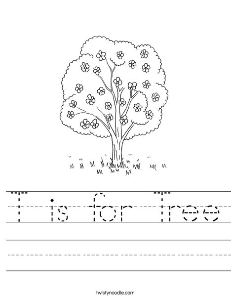 Tree with Flowers Worksheet
