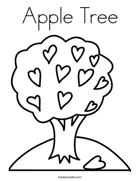 Tree with hearts coloring page