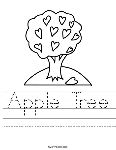 Tree with Hearts Worksheet