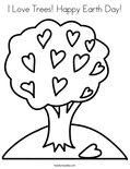 I Love Trees! Happy Earth Day! Coloring Page