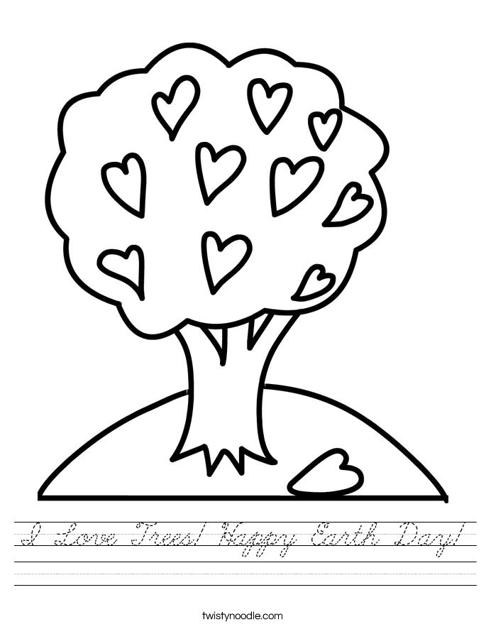 I Love Trees! Happy Earth Day! Worksheet