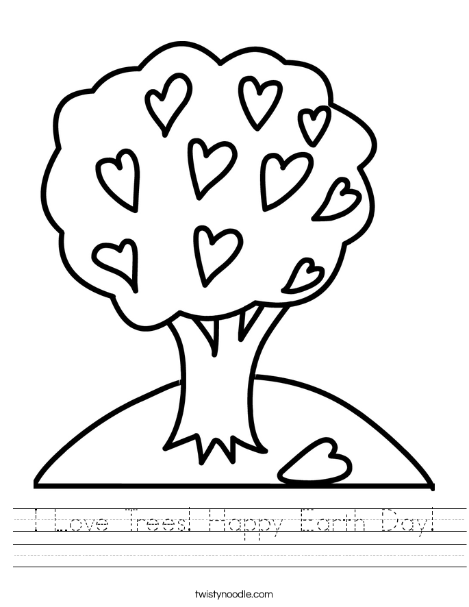 I Love Trees! Happy Earth Day! Worksheet