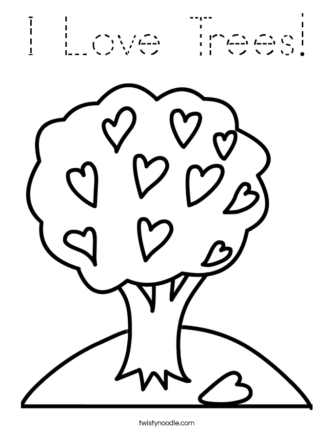 I Love Trees! Coloring Page