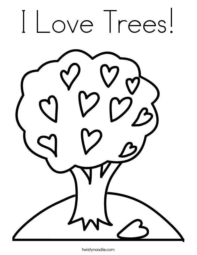 I Love Trees Coloring Page