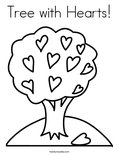 Tree with Hearts! Coloring Page