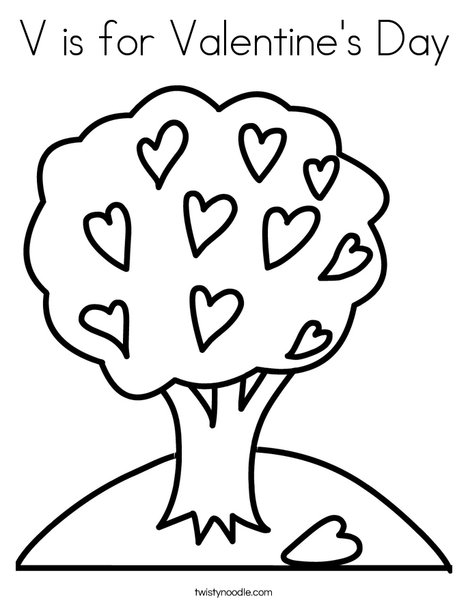 V is for Valentine's Day Coloring Page - Twisty Noodle