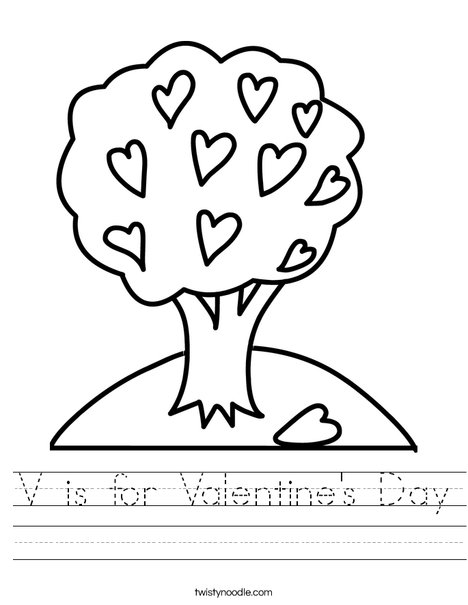 is for Valentine's Day Worksheet - Twisty Noodle
