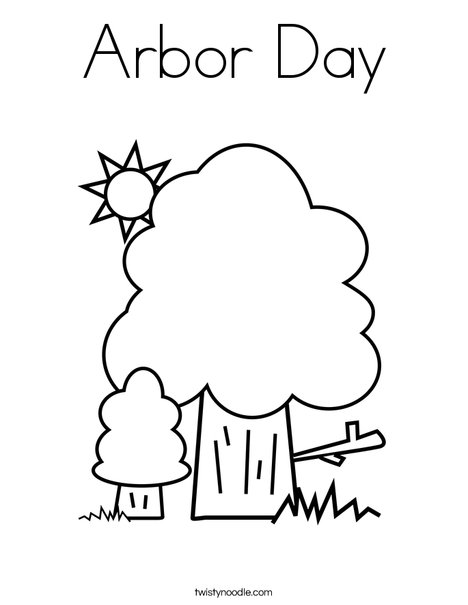 Arbor Day Coloring Page Twisty Noodle