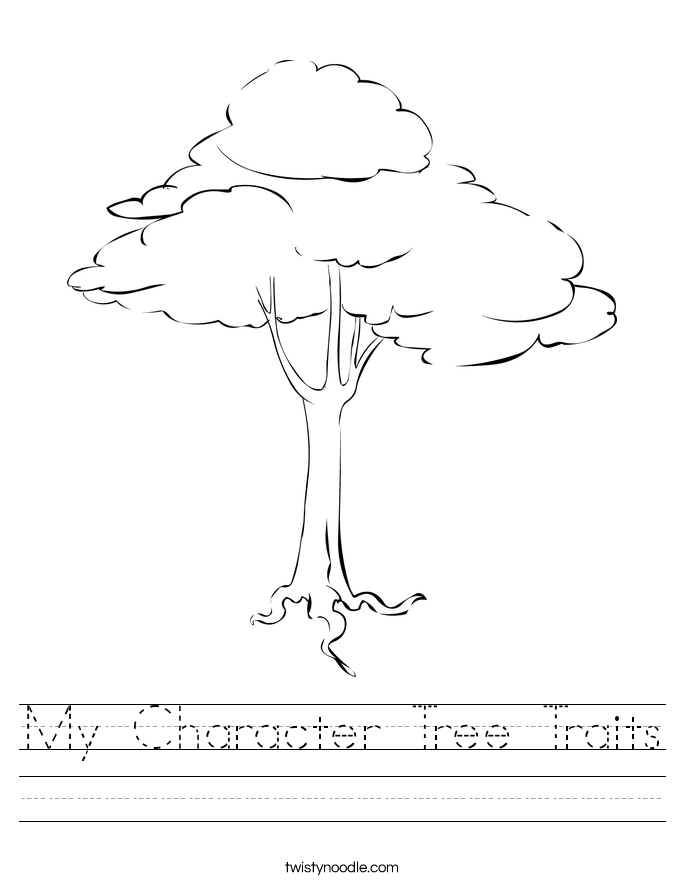 My Character Tree Traits Worksheet