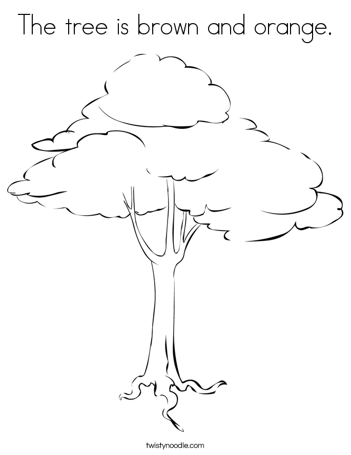 The tree is brown and orange. Coloring Page