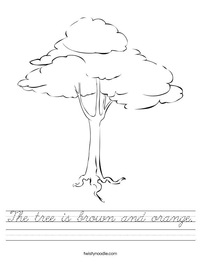The tree is brown and orange. Worksheet
