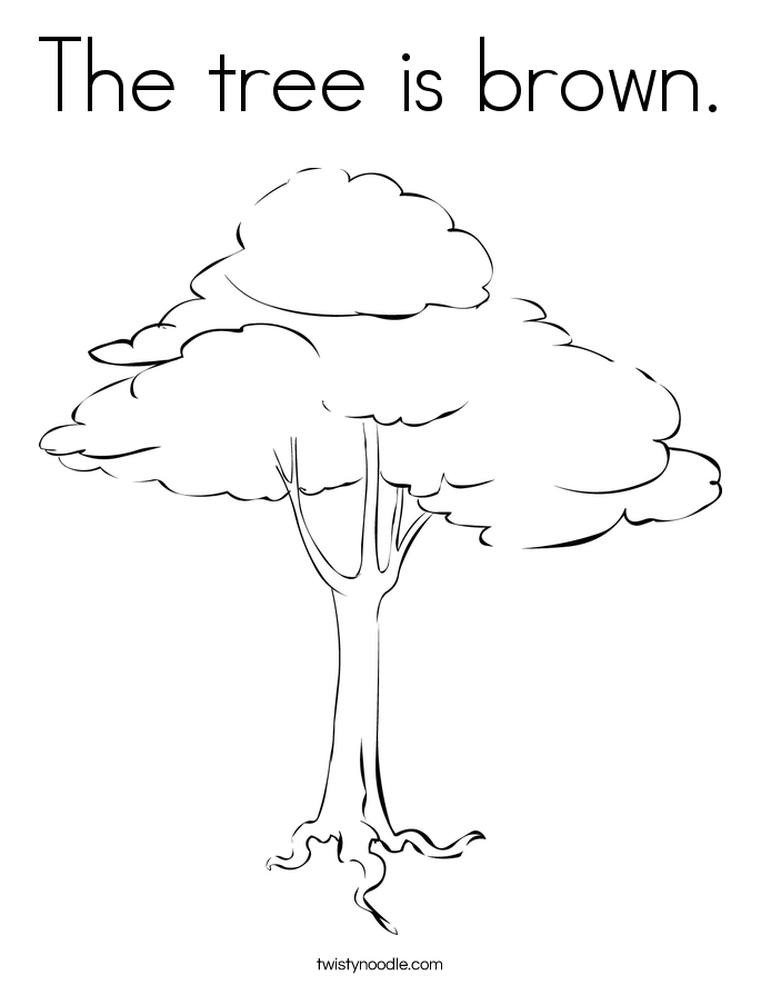 The tree is brown. Coloring Page