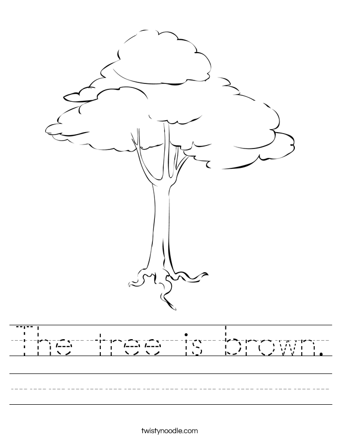 The tree is brown. Worksheet