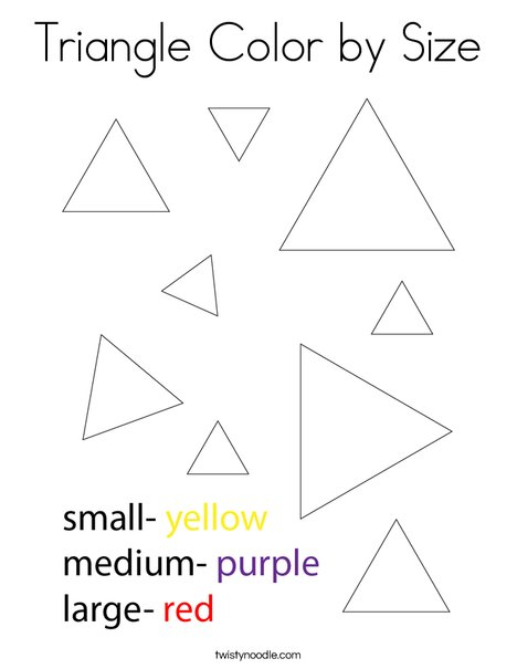 Triangle Color by Size Coloring Page