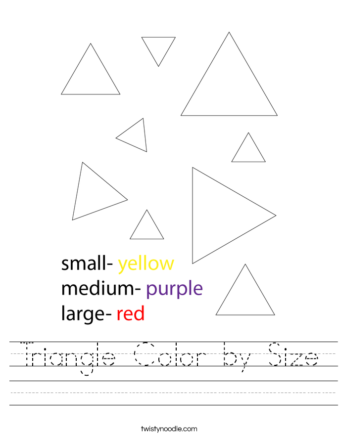 Triangle Color by Size Worksheet