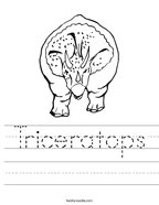 Triceratops Handwriting Sheet