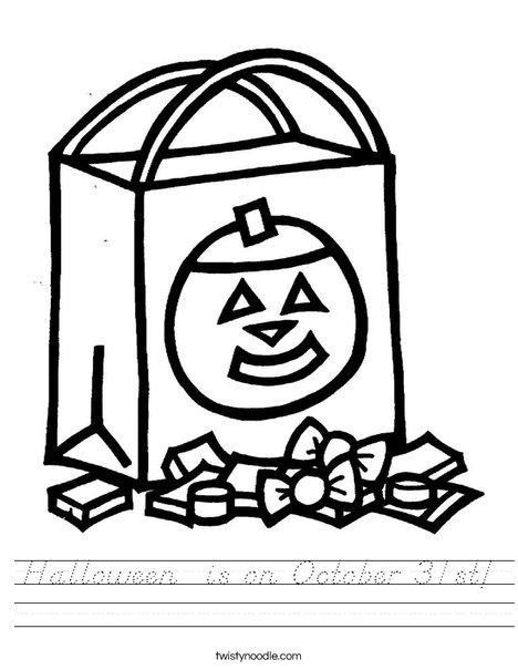 Trick or Treat Bag Worksheet