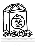 Halloween  is on October 31st! Worksheet