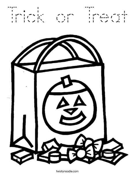 Trick or Treat Coloring Page - Tracing - Twisty Noodle