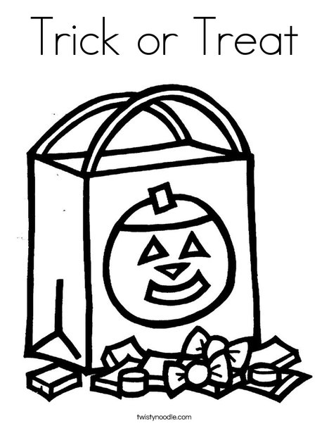 trick or treat coloring pages Trick or Treat Coloring Page   Twisty Noodle trick or treat coloring pages