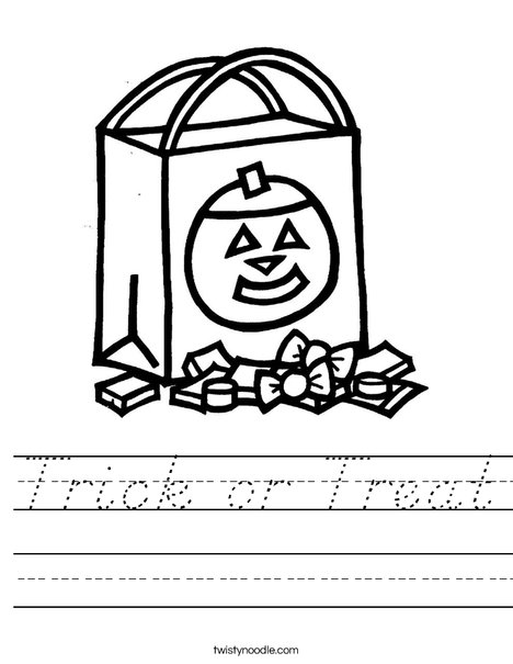 Trick or Treat Bag Worksheet