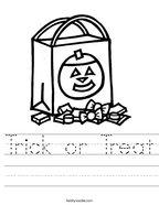 Trick or Treat Handwriting Sheet