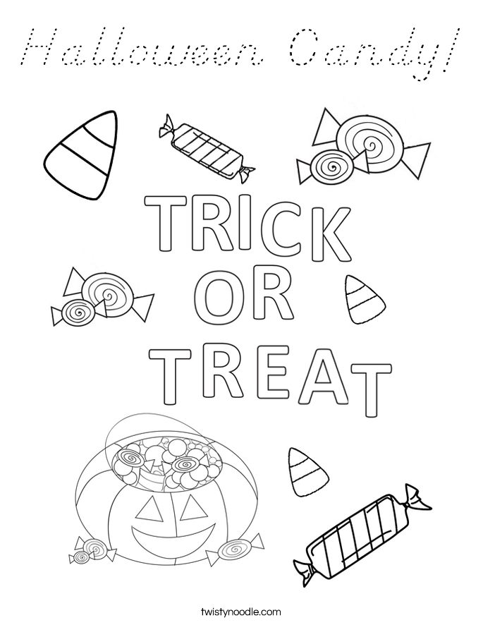 Halloween Alphabet Coloring Pages : Halloween candy coloring page d nealian twisty noodle