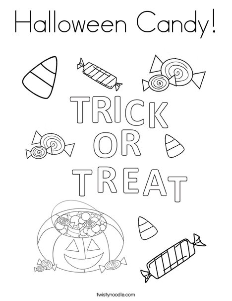 Trick or Treat Letters Coloring Page