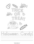 Halloween Candy Handwriting Sheet
