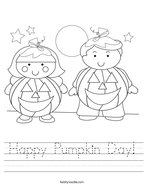 Happy Pumpkin Day Handwriting Sheet