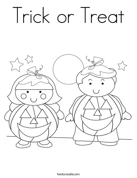Trick Or Treat Pages Coloring Pages Trick Or Treat Coloring Page