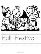Fall Festival  Handwriting Sheet