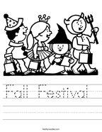 Fall Festival  Handwriting Sheet