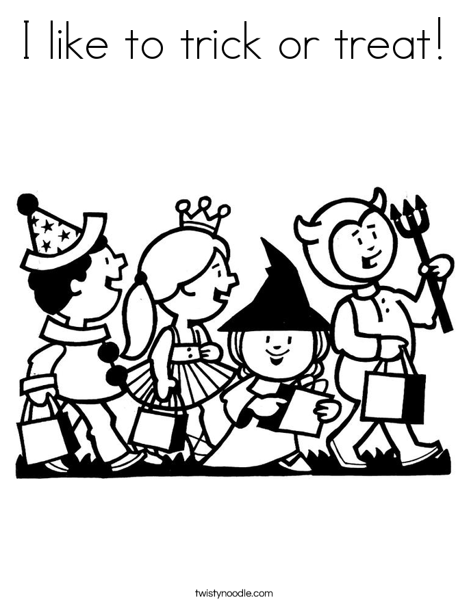 I like to trick or treat! Coloring Page
