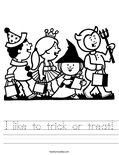 I like to trick or treat! Worksheet